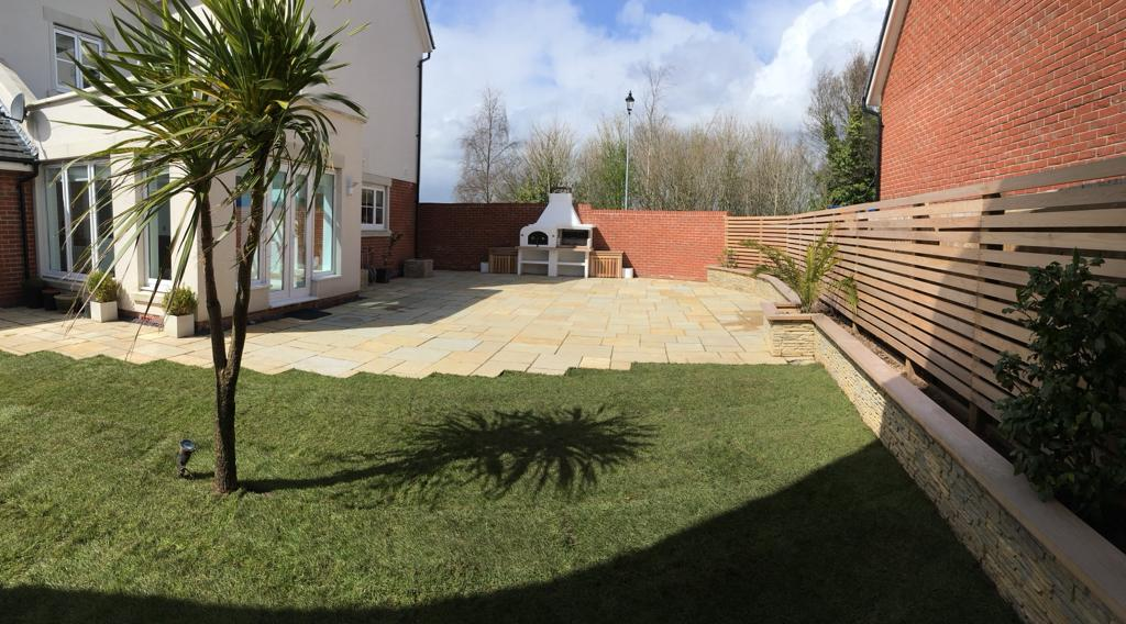 patio laid in residential home garden