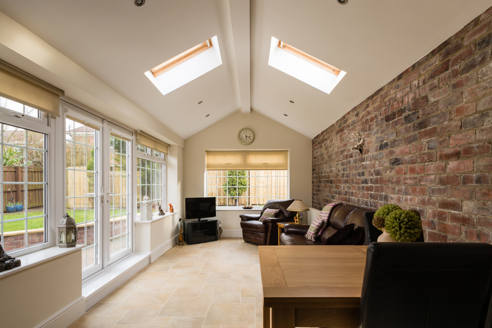 house extension interior showing finished interior and roof windows